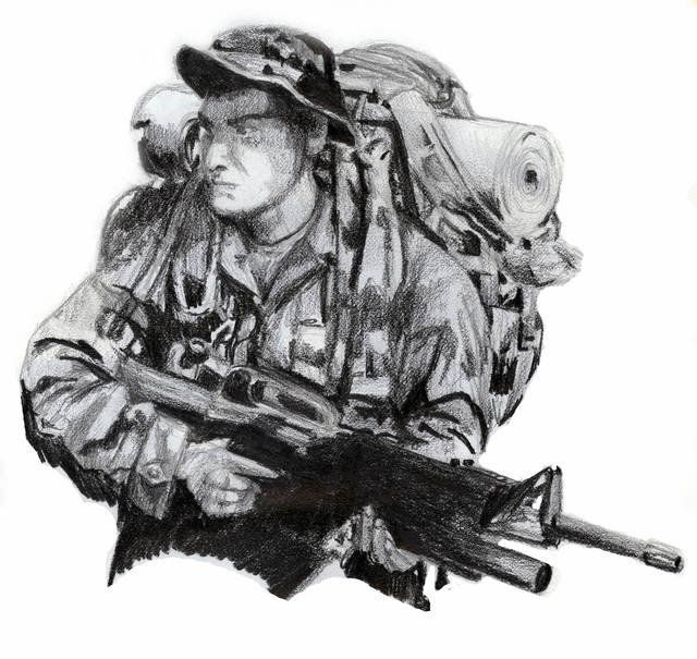 A graphite pencil drawing of US Marine Corps (USMC) Sergeant (SGT) Donnie J. Farmer, a rifleman team leader with 1ST Battalion, 4th Regiment, 1ST Marine Division, by SGT Kenneth E. Farmer, USMC, Combat Visual Information Center, Marine Corps Base (MCB) Quantico, Virginia