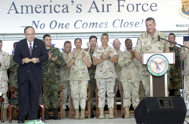General Tommy Franks, Commander, United States Central Command (CENTCOM), introduces former New York Mayor Rudolph Giuliani to members of the 6th Mobility Wing (MW) in Hanger 3, at MacDill Air Force Base (AFB)