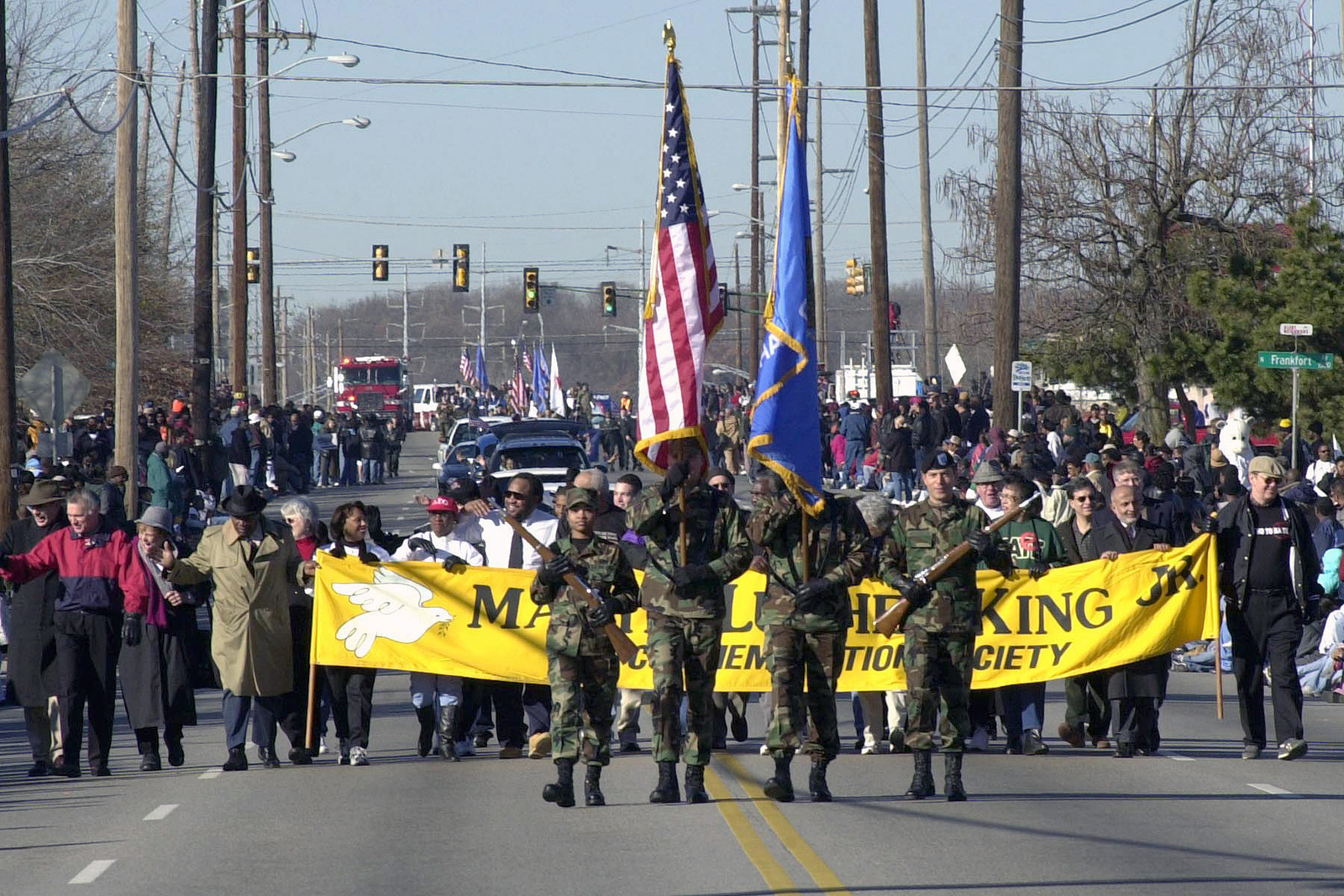 Members of the US Air Force (USAF) 138th Fighter Wings Honor Guard, lead the Martin Luther King Jr., Day Celebration Parade at Tulsa, Oklahoma (OK)