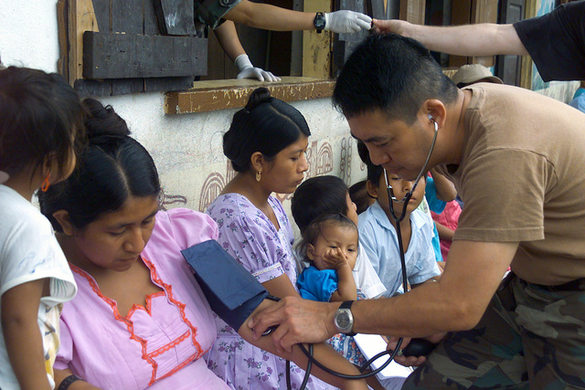 US Air Force (USAF) Captain (CPT) Jose R. D. Cabrera, a Nurse from the 146th Medical Squadron, California Air National Guard (ANG), gets a blood pressure reading of a local villager the town of Punta Gorda, Belize, during a 15-day Medical Humanitarian Operation called Medrete 03. During the Operation over 3,600 patients were treated and help was deliver to people affected by Hurricane Iris