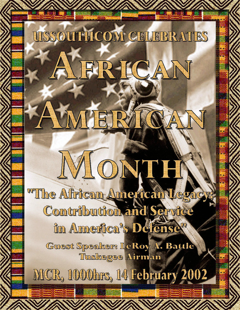 Poster art created for a ceremony held at Headquarters US Southern Command (USSOUTHCOM) to celebrate Black History Month. Created by Thomas Pattison, CIV, USA