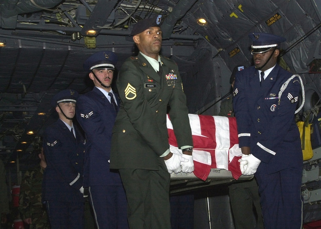 At approximately 11:45 PM (JST), The bodies of three US service members arrived at Kadena Air Base, Okinawa, Japan, onboard a C-130 Hercules. An Army and Air Force joint honor guard team, whose members are stationed at Okinawa, rendered honors upon their return. Names are being with held pending notification to next of kin. The three were recovered from the crash of a US Army MH-47E Chinook in the Bohol Sea near the island of Apo. The Chinook carried eight US Army personnel, 160th Special Operations Aviation Regiment, Fort Campbell, Kentucky, and two US Air Force para-rescue jumpers, 320th Special Tactics Squadron, Kadena Air Base, Japan