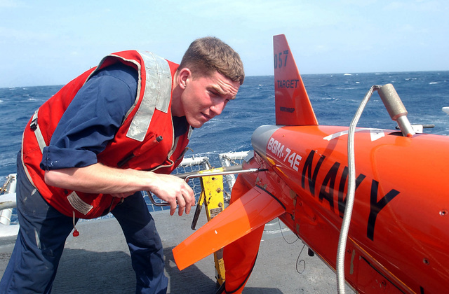 US Navy (USN) Aviation Structural Mechanic (AM) AIRMAN (AN), Travis Shedd, Fleet Composite Squadron Six, assembles a BQM-74E target drones on board the Guided Missile Frigate USS Doyle (FFG 39), in preparation for the upcoming 43rd annual UNITAS live fire exercises. UNITAS is the largest multi-national naval exercise conducted with naval forces from the Caribbean Sea, South and Central America and the USN. The exercises focus on building multinational coalition while promoting hemispheric defense and mutual cooperation