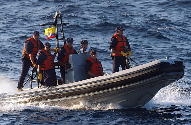 A Colombian Navy (Armada De La Repbulica) Vessel Boarding Search and Seizure (VBSS) team conducts a Maritime Interdiction Operations (MIO) training exercise, onboard a Rigid Hull Inflatable Boat (RHIB) while participating in the 43rd annual UNITAS Exercise. UNITAS is the largest multi-national naval exercise conducted with naval forces from the Caribbean Sea, South and Central America and the USN. The exercises focus on building multinational coalition while promoting hemispheric defense and mutual cooperation