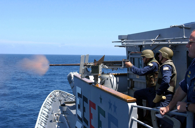 US Navy (USN) Fire Control Technician Second Class (FT2) William Tomlinson fires a .50 caliber machine gun onboard the Guided Missile Cruiser USS Yorktown (CG 48), part of the 43rd annual UNITAS live fire exercises. UNITAS is the largest multi-national naval exercise conducted with naval forces from the Caribbean Sea, South and Central America and the USN. The exercises focus on building multinational coalition while promoting hemispheric defense and mutual cooperation