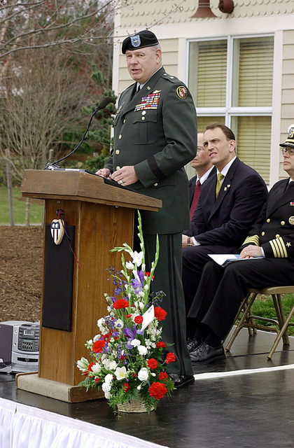 US Army (USA) Brigadier General (BGEN) Warner I. Sumpter, speaks during the Memorial Ceremony honoring the late USN Lieutenant (LT) Jonas M. Panik, held at the Piney Orchard Community Center, Memorial Flag Garden, in Odenton, Maryland. LT Panik, an Intelligence Officer was killed during the September 11th attack on the Pentagon