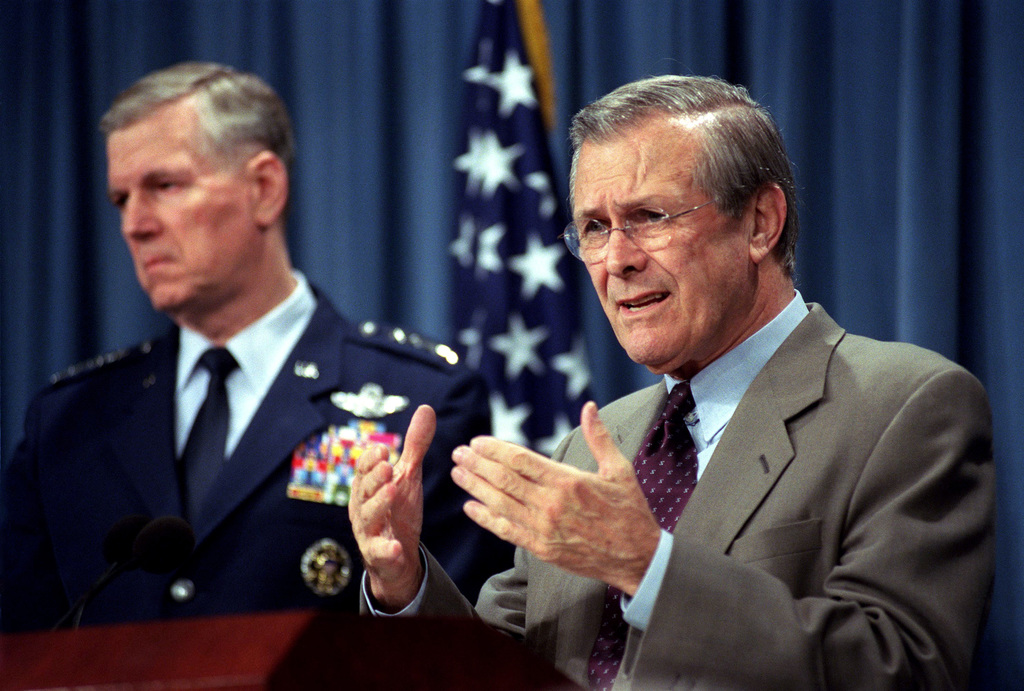 The Honorable Donald H. Rumsfeld (right), U.S. Secretary of Defense, and U.S. Air Force GEN. Richard B. Myers (left), Chairman of the Joint Chiefs of STAFF, brief reporters at the Pentagon, Washington D.C., on Mar. 28, 2002.(DoD photo by Robert D. Ward) (Released)