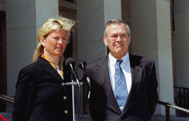 The Honorable Donald H. Rumsfeld (right), U.S. Secretary of Defense, and Kristin Krohn Devold, Norwegian Minister of Defense, hold a joint press conference at the River Entrance of the Pentagon, Washington, D.C., April 2, 2002. (DoD photo by Helene C. Stikkel) (Released)