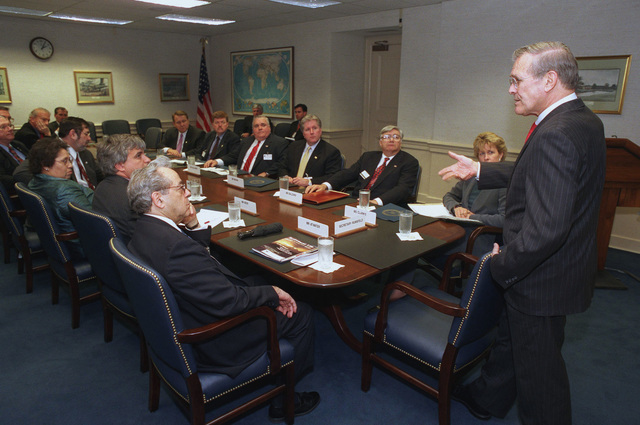 The Honorable Donald H. Rumsfeld (right), U.S. Secretary of Defense, addresses a gathering of prominent labor leaders during a Department of Defense community outreach program at the Pentagon, Arlington, Va., on Apr. 3, 2002.(DoD photo by Robert D. Ward) (Released)