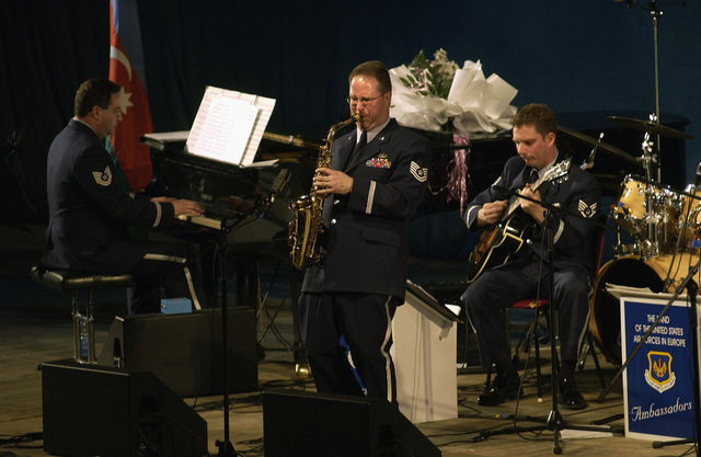 "Technical Sergeant (TSGT) Bill King with the United States Air Force in Europe (USAFE) Jazz Band, The Ambassadors, performs the alto saxophone solo of ""Till You Come Back to Me"" during the Caspian Jazz and Blues Festival, in Azerbaijan"