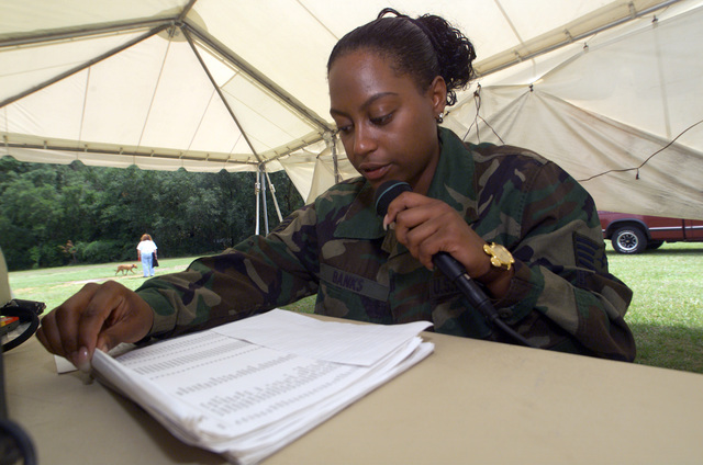 United States Air Force (USAF) STAFF Sergeant (SSGT) Chandra Banks, with the 6th Medical Group, 6th Air Mobility Wing (AMW), MacDill Air Force Base (AFB) Florida, reads the names of Florida's fallen warriors written on the replica of the Vietnam Memorial, during the 9th Annual Salute to Vietnam Veterans held at Edward Medard Park, Florida