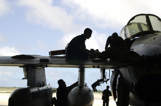 Mechanics work on an EA6B Prowler from the Marine Tactical Electronic Warfare Squadron 2 (VMAQ-2) at Marine Corps Air Station, Iwakuni, Japan in support of Exercise COPE NORTH 2002, on Andersen Air Force Base (AFB), Guam