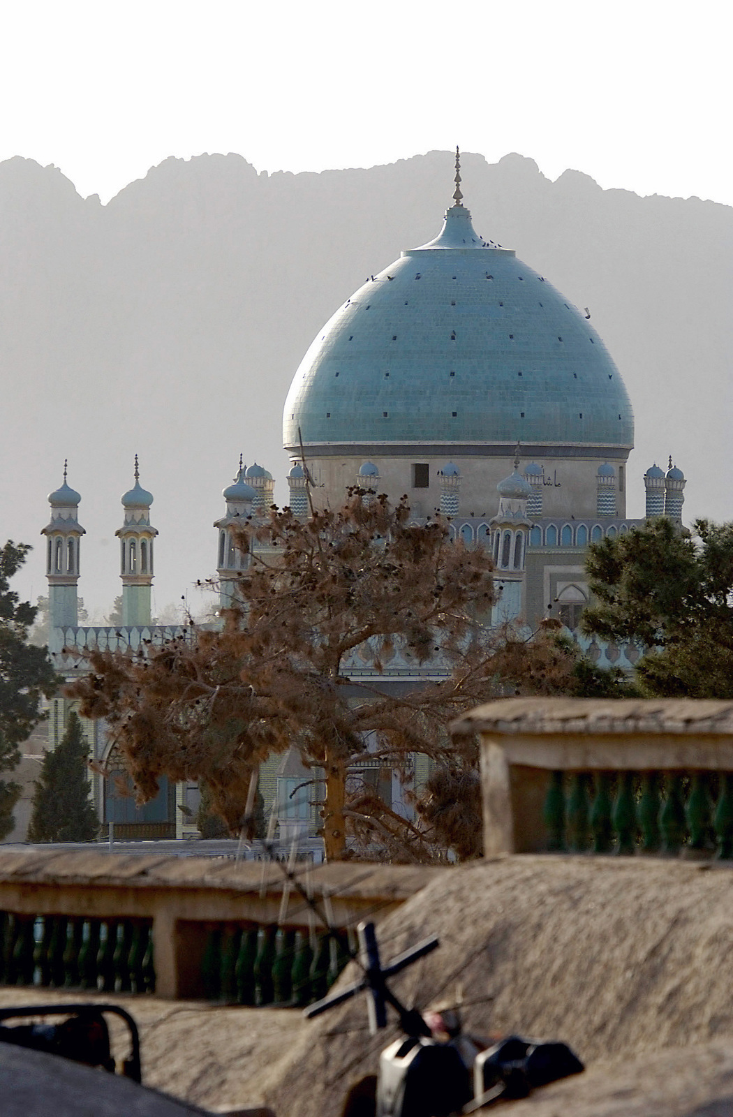 From the roof of the governors palace soldiers get a view of a mosque in downtown Kandahar City, Afghanistan. The city is outside the perimeter of Kandahar Air Base where over 3,000 US soldiers are stationed in support of Operation ENDURING FREEDOM