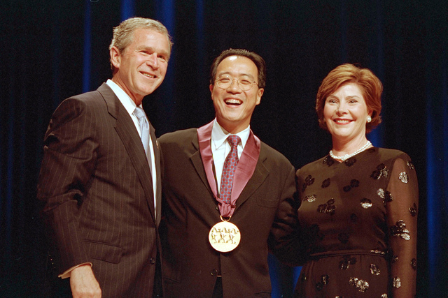 President Bush and Laura Bush Attend the Arts and Humanities Awards Ceremony with Yo-Yo Ma