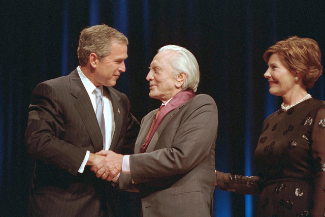 President Bush, Laura Bush, and Kirk Douglas Attend the Arts and Humanities Awards Ceremony