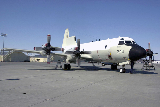 A US Navy (USN) NP-3D Orion assigned to Naval Air Warfare Center (NAWC), Point Mugu, California, goes through a post flight check-up on the flight line of Elmendorf Air Force Base (AFB), Alaska