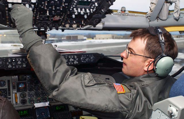 First Lieutenant (1LT) Jerrad Krapp, a KC-135 Stratotanker co-pilot, 92nd Air Refueling Wing (ARW), Fairchild Air Force Base (AFB), Washington, prepares his aircraft for takeoff in support of exercise NORTHERN EDGE 2002
