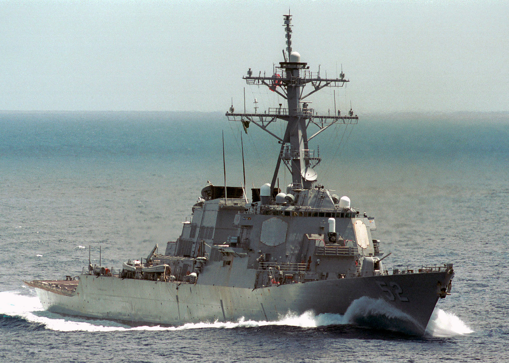 Starboard bow view of the US Navy (USN) ARLEIGH BURKE CLASS (FLIGHT I) GUIDED MISSILE DESTROYER (AEGIS), USS BARRY (DDG 52), underway while conducting an integrated training exercise in the Caribbean Sea