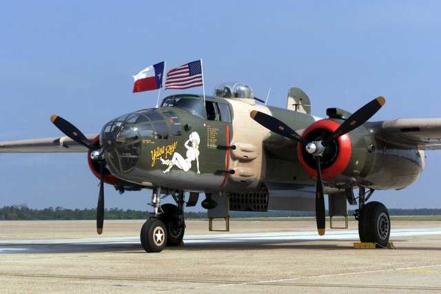 A restored World War II B-25 Mitchell bomber aircraft Yellow Rose, on display during the annual Open House held at Eglin Air Force Base (AFB) Florida (FL)