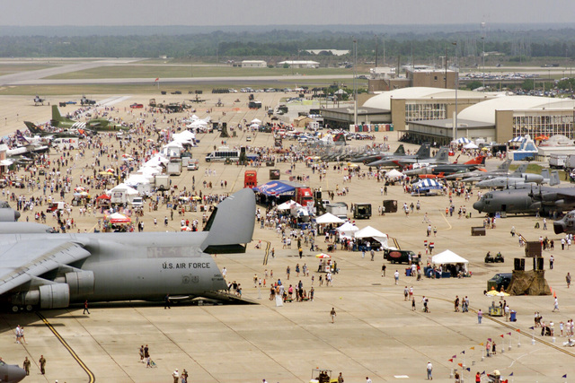 Large crowds of spectators are on hand to view the various military aircraft and exhibits on display during the annual Open House held at Eglin Air Force Base (AFB) Florida (FL)