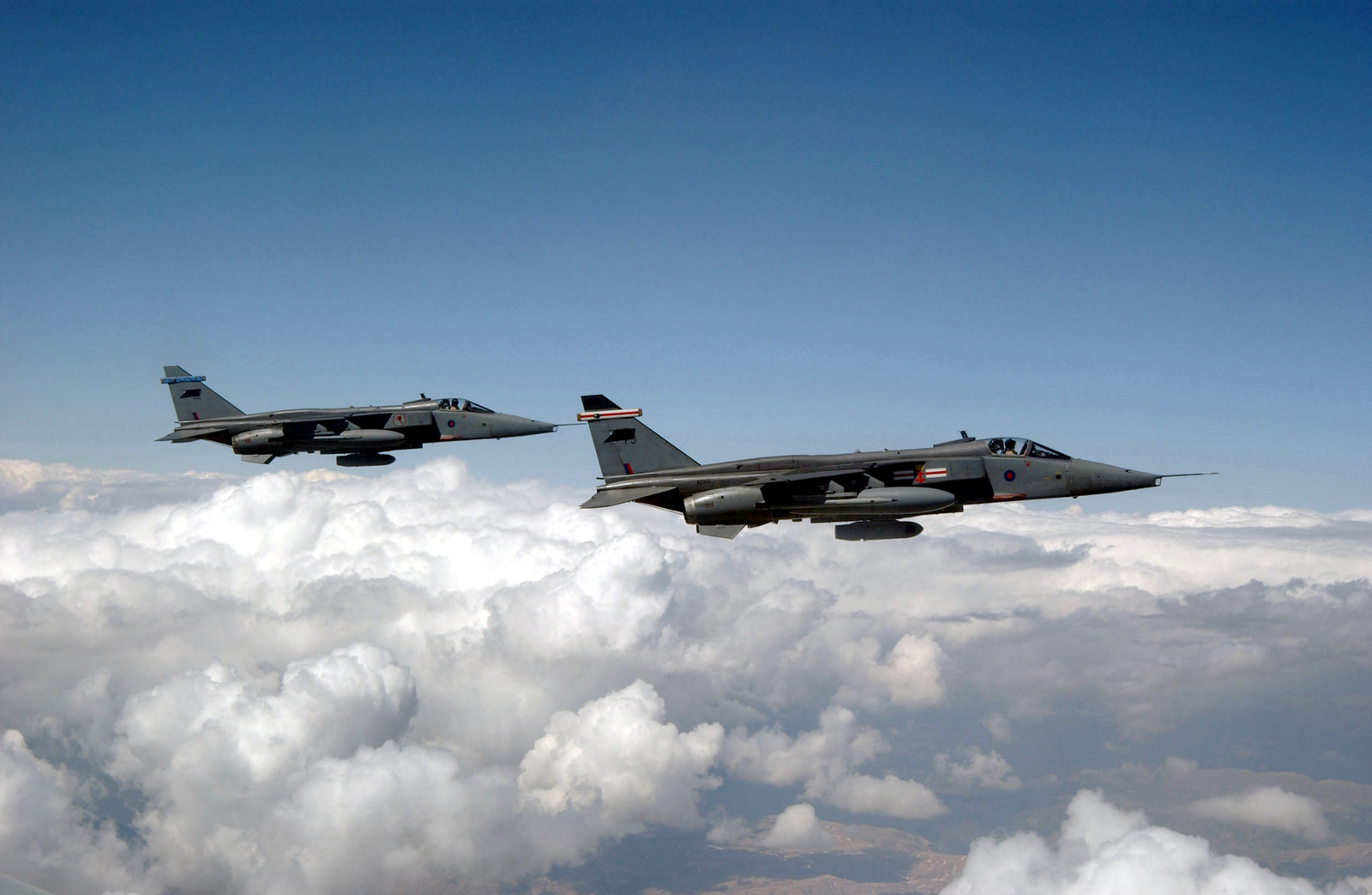 Two Royal Air Force (RAF) GR3A Jaguar aircraft fly a mission over Incirlik Air Base (AB) Turkey, in support of Operation NORTHERN WATCH