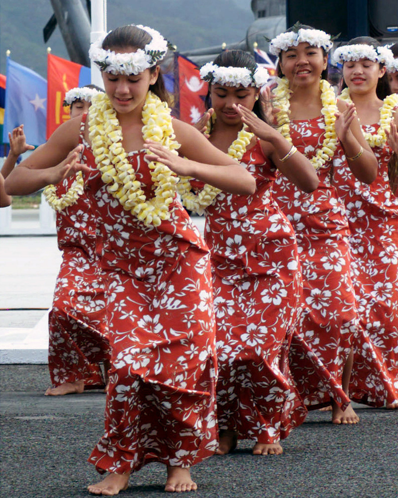 Hawaiian Dancers from the Halau Hula Olana dance group perform a hula dance during the Commander-in-CHIEF US Pacific Commands Change of Command Ceremony at, Marine Corps Base, Kaneohe Bay, Hawaii. During the Ceremony Admiral Dennis C. Blair relinquished his command to Admiral Thomas B. Fargo