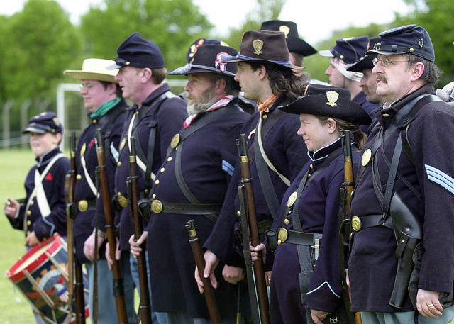 A group of Re-enactors dress in Civil War Era Confederate