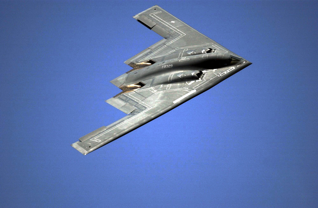 Aerial footage of a US Air Force B-2 from the 509th Bomb Wing