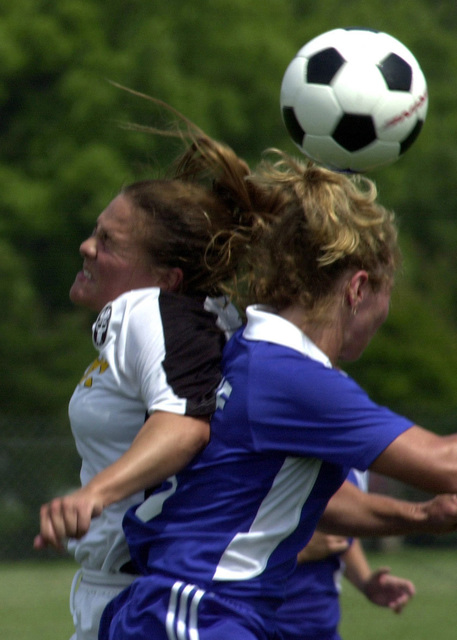 Members of the US Army (USA) and US Air Force (USAF) WomenΘs Soccer Team battle for possession of the ball, during the US Armed Forces WomenΘs Soccer Championship at Fort Eustis, Virginia (VA)