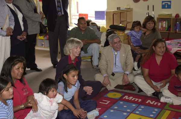 Secretary Gale Norton and Assistant Secretary for Indian Affairs Neal McCaleb observing classroom activities during visit to To Hajiilee-He CommunitySchool, an Eastern Navajo Agency-operated school in Canoncito, New Mexico. Visit highlighted federal support for American Indian schools, and such initiatives as the Family and Child Education Program