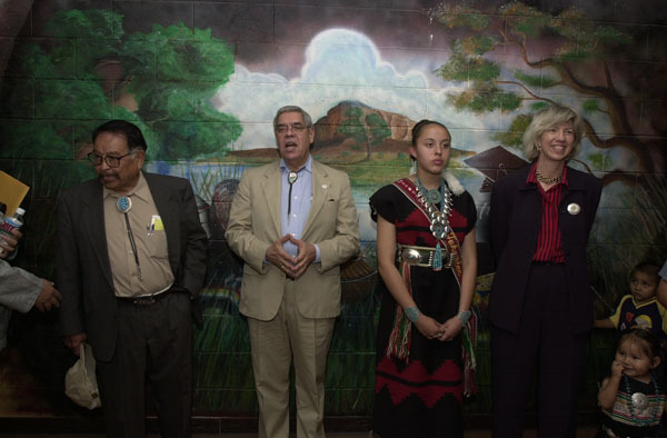 Secretary Gale Norton, far right, and Assistant Secretary for Indian Affairs Neal McCaleb, third from right, during visit to the To Hajiilee-He Community School, an Eastern Navajo Agency-operated school in Canoncito, New Mexico. Visit highlighted federal support for such initiatives as the Family and ChildEducation Program