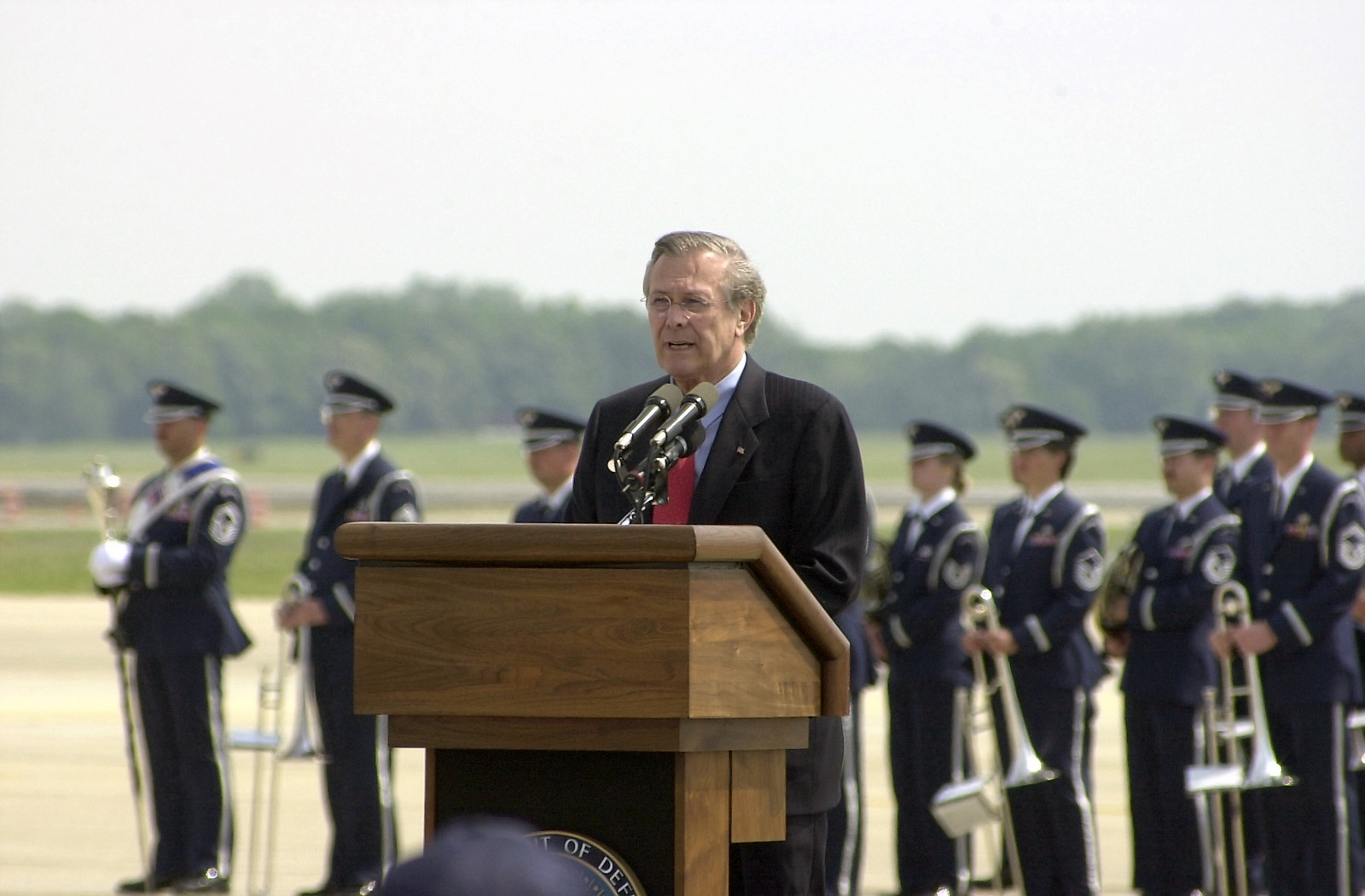 U.S. Secretary of Defense (SECDEF) The Honorable Donald H. Rumsfeld delivers a speech during the Joint Services Open House Ceremony, held at Andrews Air Force Base, Md. (U.S. Air Force photo by MASTER SGT. Glenn Wilkewitz) (Released)