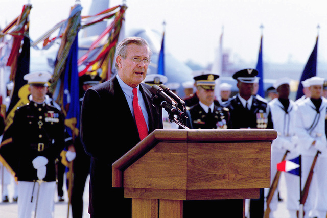 US Secretary of Defense (SECDEF), The Honorable Donald H. Rumsfeld, makes an address speech during a Joint Service Open House Ceremony held at Andrews Air Forces Base (AFB), Maryland (MD)