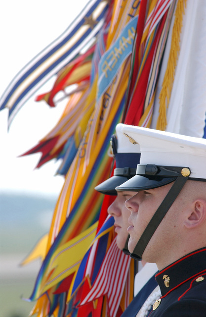 Members of a US Military Joint Service Color Guard post the Colors during the Joint Services Open House Ceremony, held at Andrews Air Force Base (AFB) Maryland (MD)