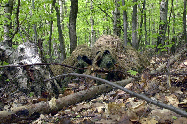 Two US Air Force STAFF Sergeants (SSGT) participating in marksmen ship training at the US Army (USA) Sniper Scholl at Sembach Army Annex, Germany, are carefully camouflaged among heavy foliage while manning a 7.62mm Springfield Armory M21 Sniping rifle (left), and a 7.62mm M24 Sniper rifle