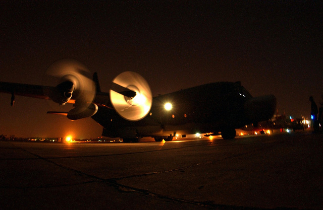 A US Air Force (USAF) MC-130H Combat Talon II from the 1ST Special Operations Squadron (SOS), 353rd Special Operations Group prepares for a nighttime mission at Air Force Station Agra, India. Members of the 353rd SOG are deployed here for three weeks of joint combined exchange training with the Indian Armed Forces