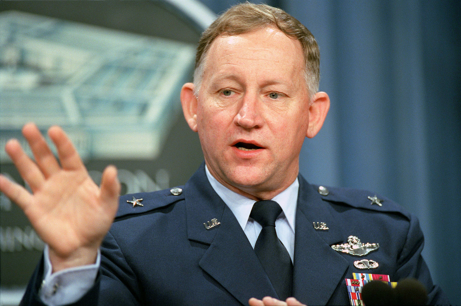 US Air Force (USAF) Brigadier General (BGEN) James Smith, Commander, US Forces Command Joint War Fighting Center, conducts a Pentagon press briefing on Millennium Challenge 2002. Millennium Challenge 2002 is a three-week training exercise/experiment to test the effectiveness of a number of transformational technologies, involving hardware, software and conceptual doctrines, which have been developed over the past two years