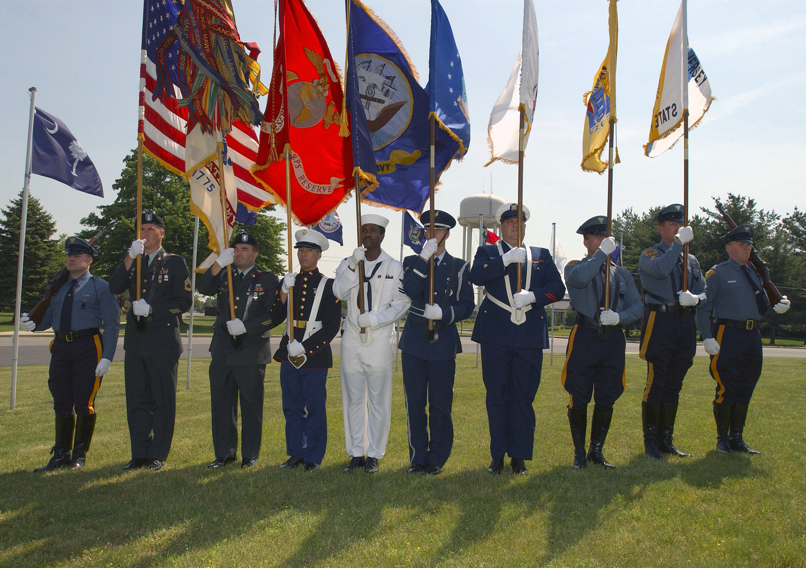 A Multi-Service Color Guard, made up of US Military personnel and