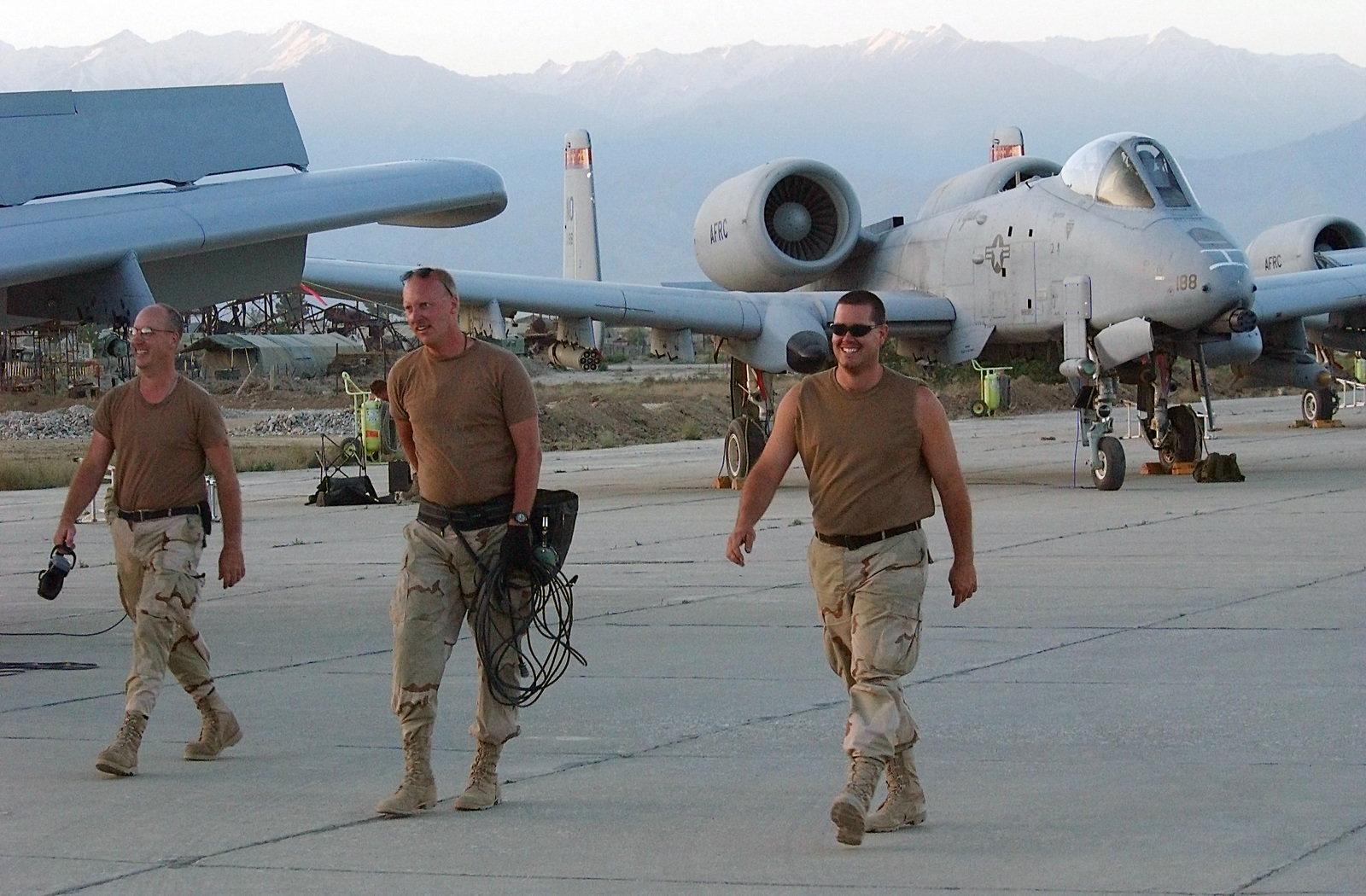 US Air Force Reserve (USAFR) Maintenance personnel deployed at Bagram Air  Base (AB), Afghanistan, finish a