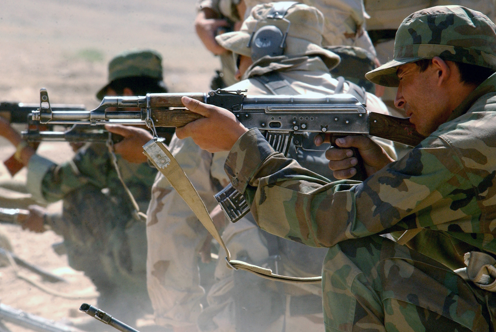 New recruits in the Afghanistan National Army (ANA) fire their 7.62mm AK-47 assault rifles
