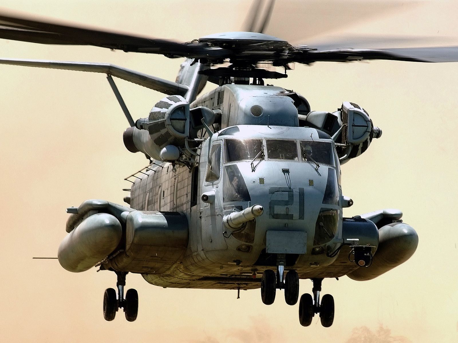 A US Marine Corps (USMC) CH-53E Sea Stallion helicopter assigned to