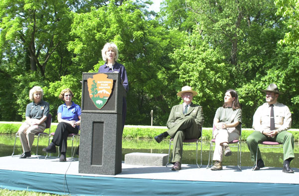 Secretary Gale Norton speaking at National Trails Day-related event at the Chesapeake and Ohio Canal National Historical Park in the Washington, D.C. area, marking the designation of 26 new national recreation trails in 16 states