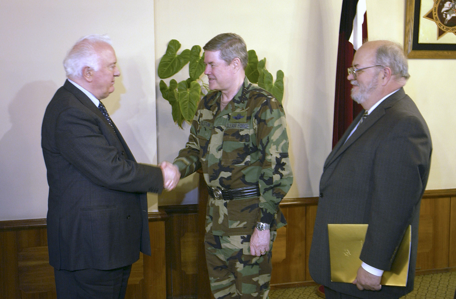Georgian President Eduard Shevardnadze (left) greets US Air Force (USAF) General Joseph W. Ralston (center), Commander in CHIEF, Unites States European Command (USEUCOM) and Supreme Allied Commander of Europe, National Atlantic Treaty Organization (NATO), during GEN Ralstons visit to Tbilisi, Georgia, to discuss the Georgia Train and Equip Program (GTEP). GTEP conducted by US Special Operations Command, Europe, is designed to enhance the capability of selected Georgian military units to provide security and stability to the citizens of Georgia and the region