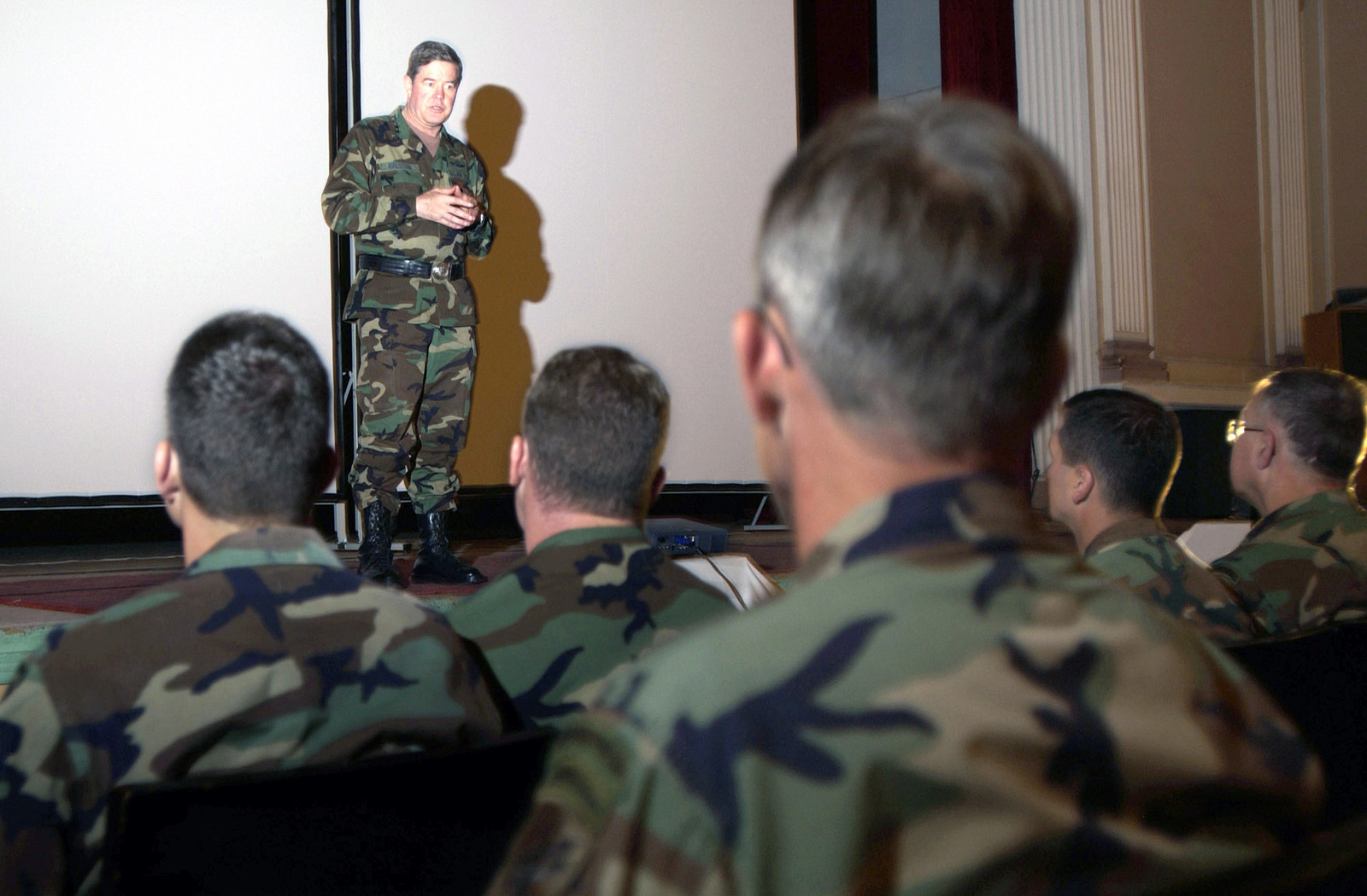 US Air Force (USAF) General Joseph W. Ralston (background), Commander in CHIEF, Unites States European Command (USEUCOM) and Supreme Allied Commander of Europe, National Atlantic Treaty Organization (NATO), speaks with US and Georgian Military Officials participating in the Georgia Train and Equip Program (GETEP), during his visit to Tbilisi, Georgia