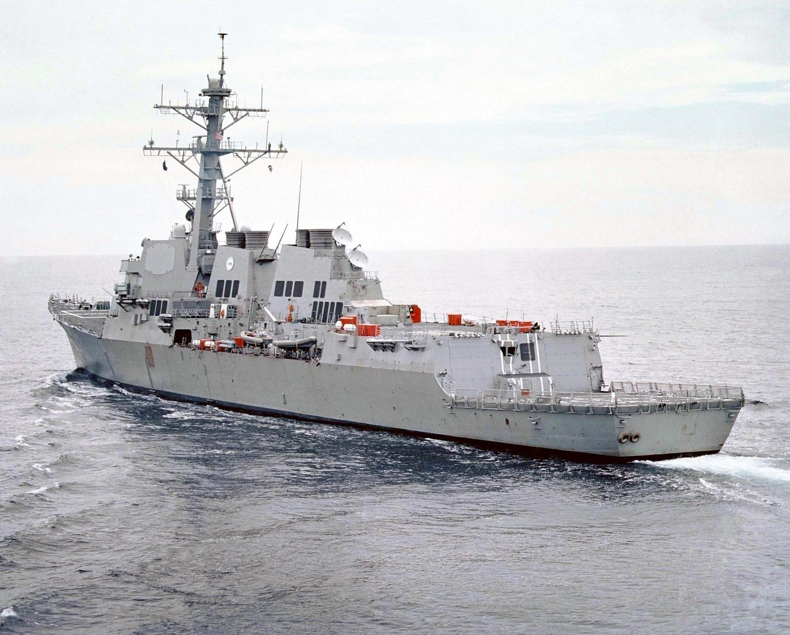 Port quarter stern view of the US Navy (USN) ARLEIGH BURKE CLASS