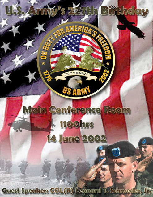 Poster art created for a ceremony held at Headquarters US Southern Command (USSOUTHCOM) to celebrate the US Army's 227th Birthday. Created by Thomas Pattison, CIV, USA