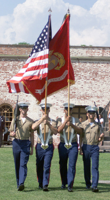 United States Marine Corps (USMC), 24th Marine Expeditionary Unit (MEU) Color Guard, presents the colors on Flag Day at Fort Macon, Morehead City, North Carolina