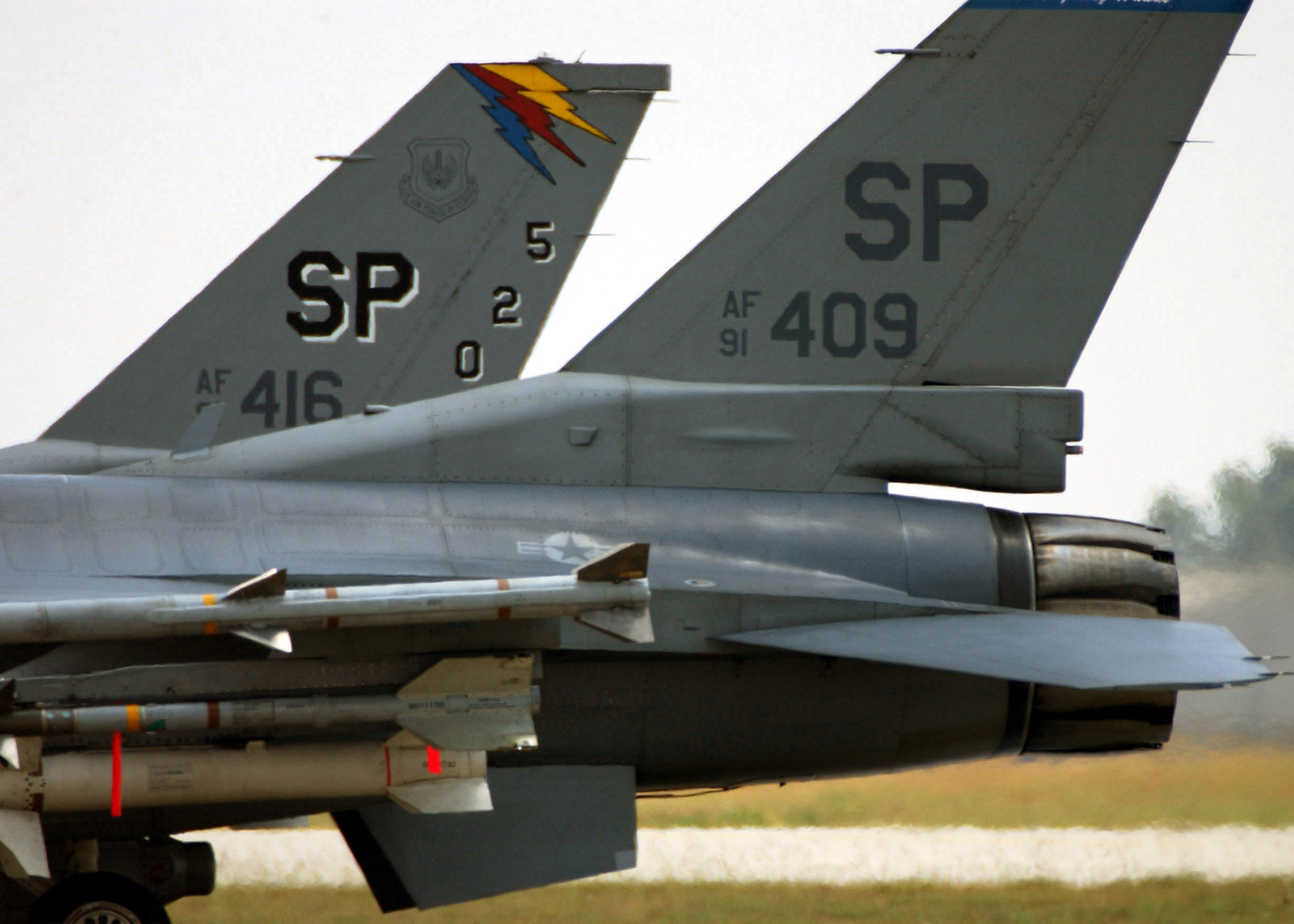 Two US Air Force (USAF) F-16 Fighting Falcon aircraft deployed from