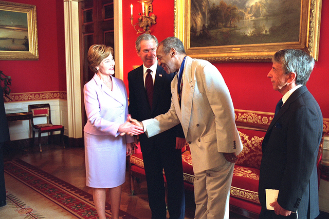 President George W. Bush and Mrs. Laura Bush Greet Bill Cosby