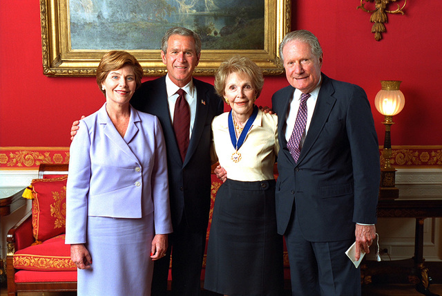 President George W. Bush and Mrs. Laura Bush with Nancy Reagan